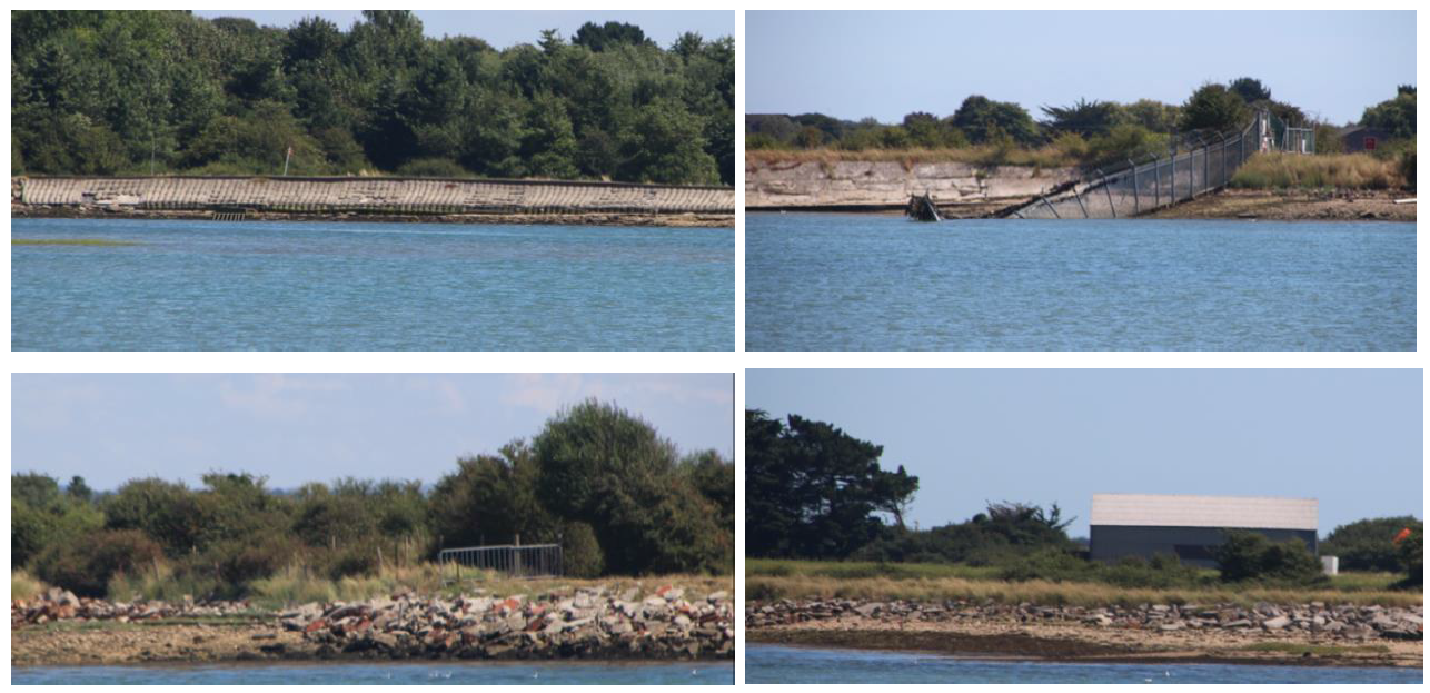 Photographs showing the current coastal embankment. The public footpath runs along this and it is in a poor condition.